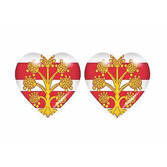 2x Klistermärke klistermärke flagga hjärtat rike uni westmorland