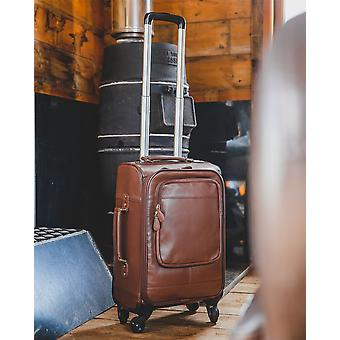 Nordvek Leather Trolley Suitcase - Suitable For Hand / Cabin Baggage - 4 Wheel Spinner Direction # 201-100
