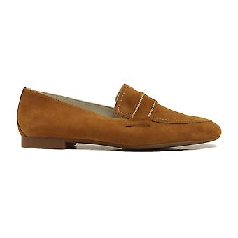 Paul Green 2504-00 Tan Suede Leather Womens Slip On Loafer Shoes