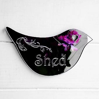 Floral Dove Acrylic Mirror Door or Wall Sign - SHED