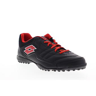 Lotto Torcida VI TF  Mens Black Leather Lace Up Athletic Soccer Shoes