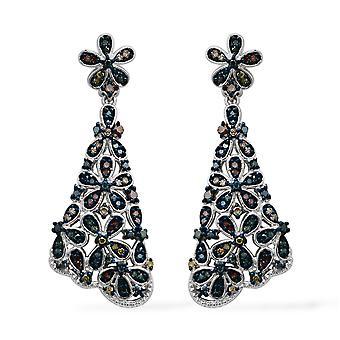 TJC Fancy Diamond Drop Boucles d'oreilles Dangle pour femmes Sterling Argent, 1 Ct