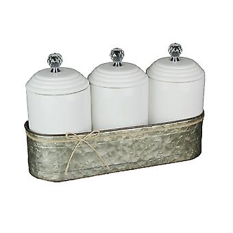 Set of 3 Ceramic Lidded Canisters With Galvanized Zinc Metal Caddy
