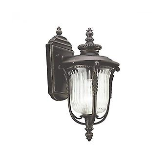 Wall Lamp Luverne, Oxidized Bronze And Glass, Small