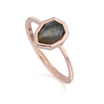 Unregelmäßige B Edelstein Labradorit Ring in Rose vergoldet Sterling Silber 271R025502925
