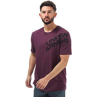 Men's Under Armour UA Wordmark Shoulder T-Shirt in Purple