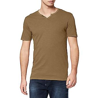 Jack & Jones Heren's Split Neck T-Shirt Slim Fit Essentials Khaki