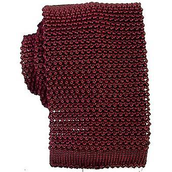 KJ Beckett corbata de seda de punto - rojo oscuro