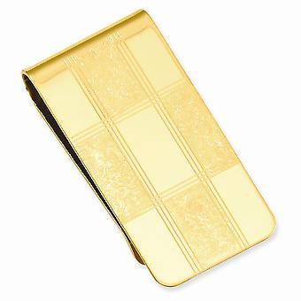 14k vergulde solide gepolijste patroon vier vierkante gegraveerde geld clip sieraden geschenken voor mannen