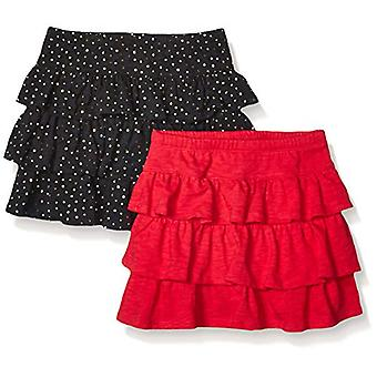 Brand - Spotted Zebra  Girls' 2-Pack Knit Ruffle Scooter Skirts, Black...