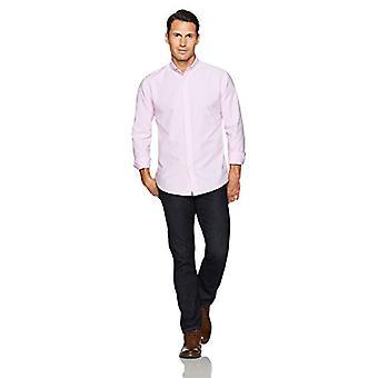 Essentials Men's regular-fit camisa Oxford sólida de manga larga, rosa, pequeño