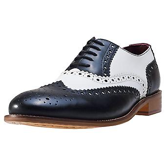 London Brogues Handcrafted Gatsby Mens Brogue Shoes in Black White