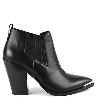 Ash BONNIE Heeled Boots Black Leather