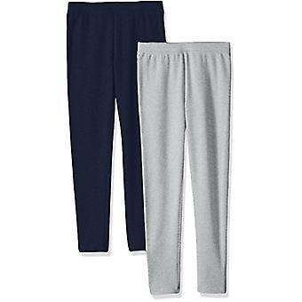 Essentials Big Girls' 2-Pack Cozy Leggings, Heather Grey/Navy, Medium