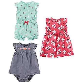 Simple Joys by Carter's Baby Girls' 3-Pack Romper, Sunsuit and Dress, Mint Ch...