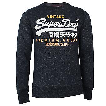 Superdry men's vl tri crew eclipse navy feeder sweatshirt