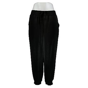 Anybody Women's Petite Pants Satin 2 Pocket Joggers Black A345513