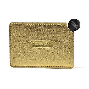 Portable Mini Shatter Proof Card Style Pocket Cosmetic Mirror - Pu Leather Cover Stainless Steel Unbreakable