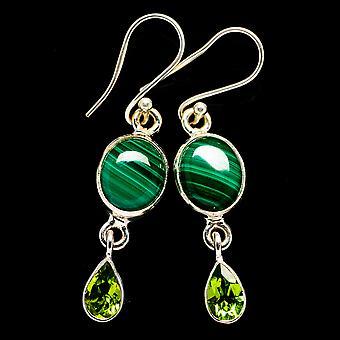 """Malachite, Peridot Earrings 1 3/4"""" (925 Sterling Silver)  - Handmade Boho Vintage Jewelry EARR405915"""