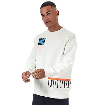 Y-3 men's multi cut graphic white sweatshirt