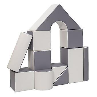 Byggesten skum 11 stykker hvid og grå
