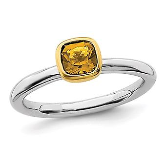 1/2 Carat (ctw) Solitaire Citrine Ring in Sterling Silver with 14K Accent
