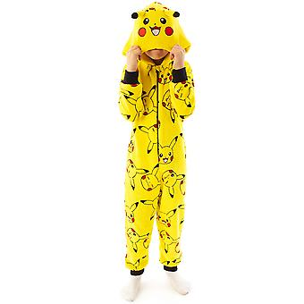 Pokemon Onesie Pikachu Gul 3D Ører Kids Sleep Suit