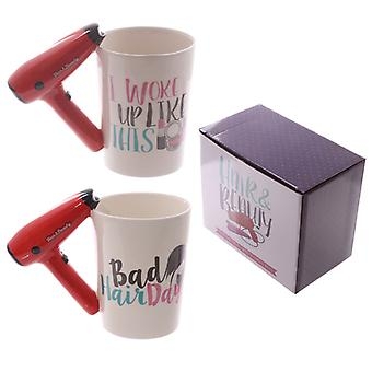 Fun Hair Drier Shaped Handle Ceramic Mug X 1 Pack