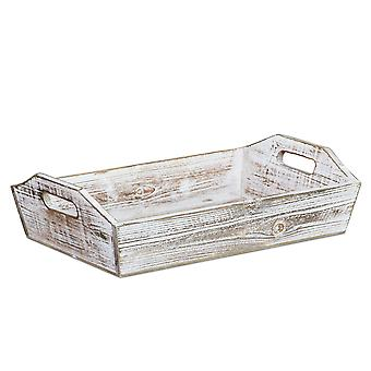 Rectangular White Wood Finished wit Side Cut Out Handle Tray