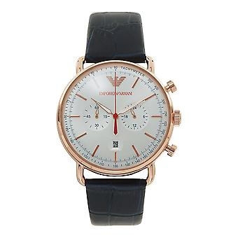 Armani Ar11123 Rose Gold, Silver Sunray Dial & Navy Blue Leather Chronograph Men's Watch