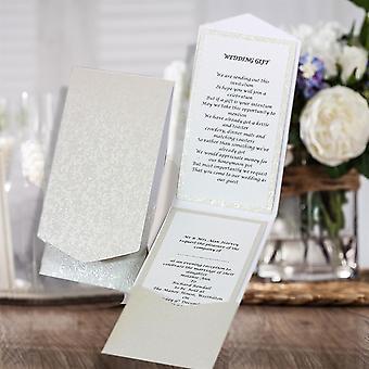 10 HAKANA Dandy White Applique Portrait Pocketfold Invitations