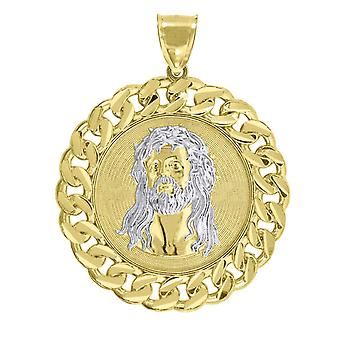 10k Two tone Gold Mens Women Curb Border Jesus Christ Religious Charm Pendant Necklace Measures 62.9x49.00m Jewelry Gift