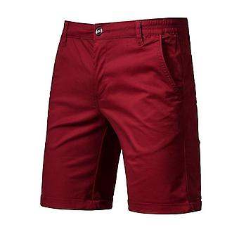 Baumwolle solide Shorts, Männer Casual Business Social Elastic Taille Strand kurz