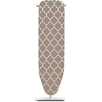Mabel Home T-Leg Adjustable Height Ironing Board with Light-Brown/White Patterned Cotton Cover