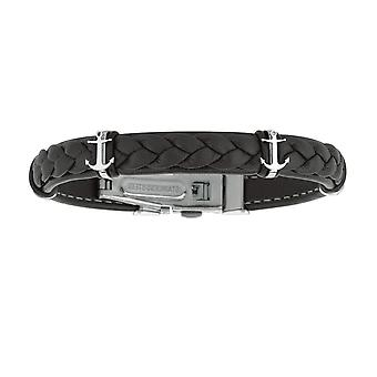 """Mens Breaded Dark Leather Bracelet With Stainless Steel Ancors And Deployment Clasp, 8.5"""""""