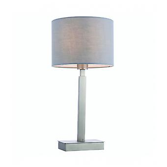 Norton Cylinder Table Lamp In Steel, Matt Nickel Plate And Gray Fabric