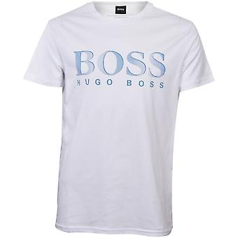 BOSS Logo Print UV-Absorbent Crew-Neck T-Shirt, White/blue