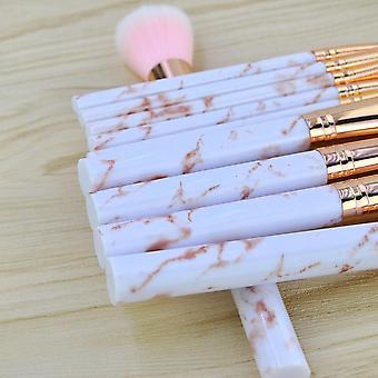 Pink Marmor 10 stk. make-up børster af fin kvalitet