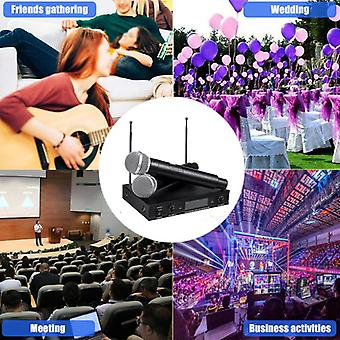 220V Wireless UHF 2 Channel Dual Handheld Microphone Mic System Karaoke KTV