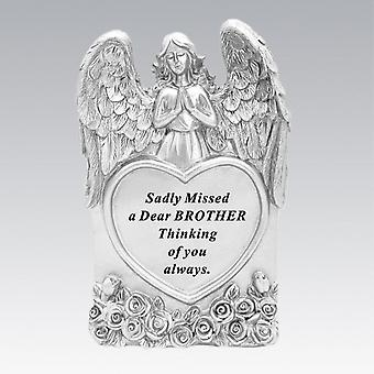 David Fischhoff Silver Praying Angel Heart Brother Memorial Standing Plaque