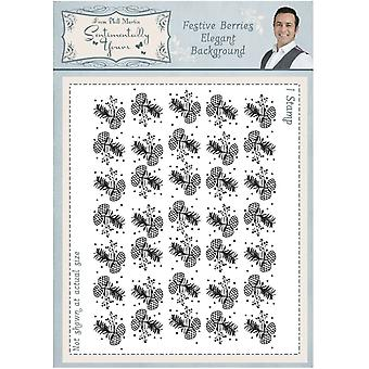 Sentimentally Yours Festive Berries Elegant A6 Background Stamp
