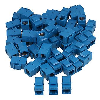 100 Pieces Cat6 RJ45 Blue Coupler Female Adapter for Keystone Panel
