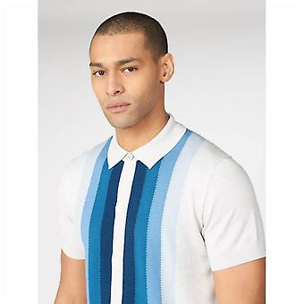 Ben Sherman Button Through Mod Polo Shirt - Ivory
