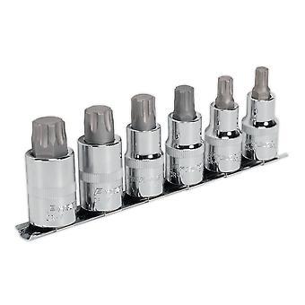 Sealey Ak6224 Trx-P Socket Bit sat 6Pc 1/2Sq køre 55Mm