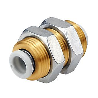 Smc Pneumatic Bulkhead Tube-To-Tube Adapter Straight, Connection A 10Mm, B 10Mm