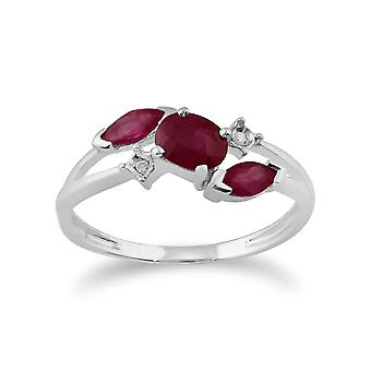 Gemondo 9ct hvitt gull 0.78ct Ruby & diamant Cossover Ring