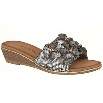 Cipriata Clio Ladies Wedge Mule Sandals Pewter