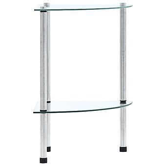 2つの棚が付いているvidaXL棚透明30x30x47 cmの強化ガラス