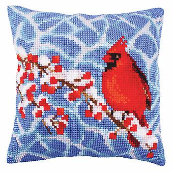 Collection d'Art Cross Stitch Kit: Cushion: Winter Red Berries
