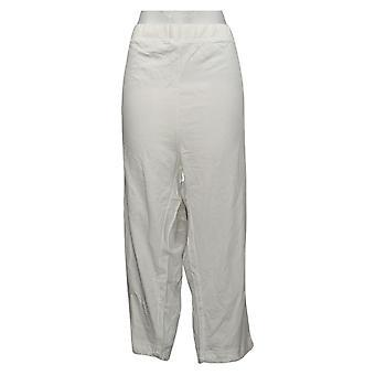Quacker Factory Women's Pants Reg French Terry Crop White A308125